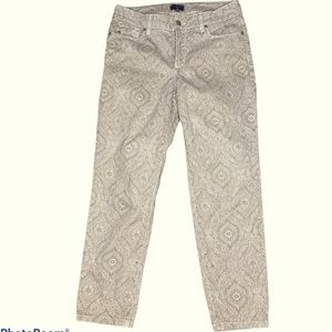 NYDJ tan and cream printed ankle jeans